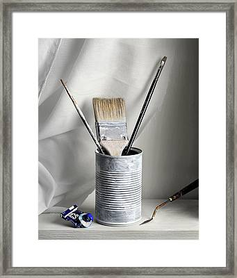 Still Life With Brushes Framed Print by Krasimir Tolev