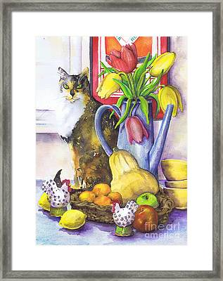 Framed Print featuring the painting Still Life With Cat by Susan Herbst