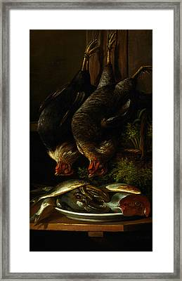 Still Life With Chickens And Fish Framed Print by Celestial Images
