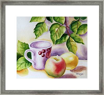 Still Life With Cup And Fruits Framed Print