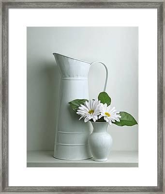 Still Life With Daisy Flowers Framed Print by Krasimir Tolev