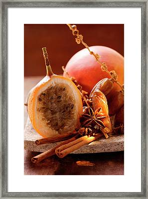 Still Life With Dates, Star Anise, Cinnamon, Granadilla And Mango Framed Print