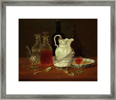 Still Life With Decanters Framed Print by J Rhodes