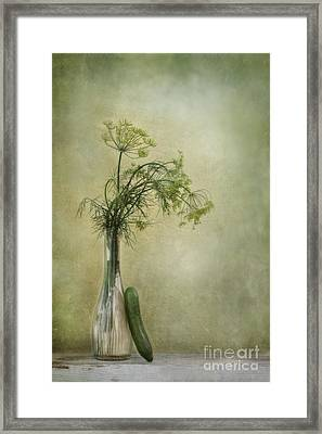 Still Life With Dill And A Cucumber Framed Print by Priska Wettstein