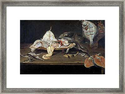 Still Life With Fish And A Cat Framed Print by Alexander Adriaenssen
