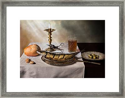 Still Life With Fish-bread-olives And Snuffed Candle Framed Print