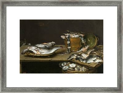 Still Life With Fish Oysters And A Cat Framed Print by Alexander Adriaenssen