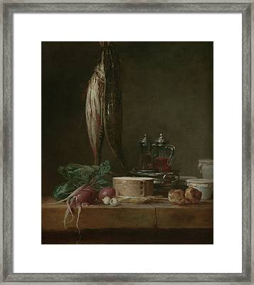 Still Life With Fish, Vegetables, Gougères Framed Print by Litz Collection