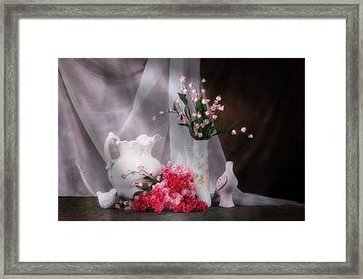 Still Life With Flowers And Birds Framed Print