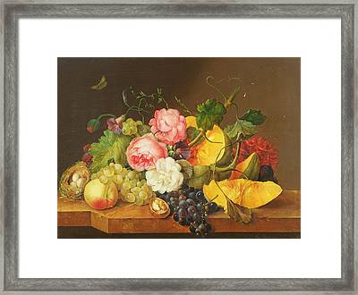Still Life With Flowers And Fruit, 1821 Framed Print