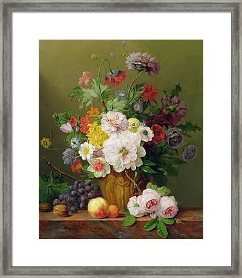 Still Life With Flowers And Fruit Framed Print by Anthony Obermann