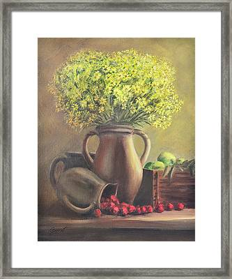 Still Life With Flowers And Fruits Framed Print by Gynt Art