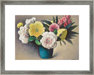 Still Life With Flowers Framed Print by Felix Elie Tobeen
