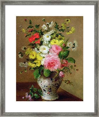 Still Life With Flowers In A Vase Framed Print