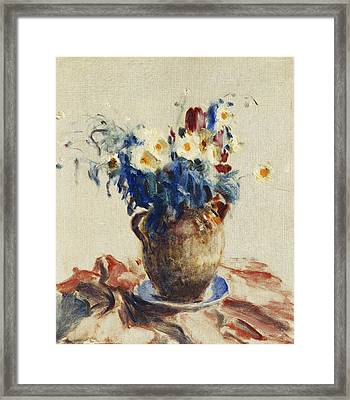 Still Life With Flowers In An Earthenware Jug Framed Print by Roderic O Conor