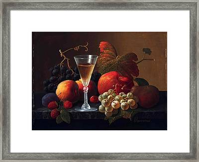 Still Life With Fruit And A Wine Glass Framed Print by Severin Roesen