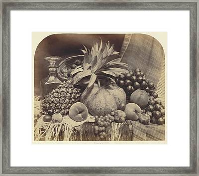 Still Life With Fruit And Decanter Roger Fenton Framed Print by Litz Collection