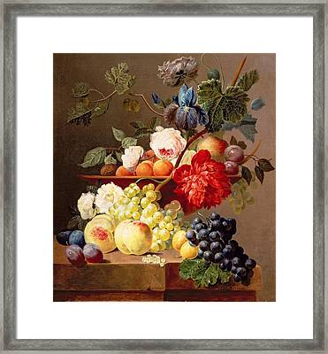Still Life With Fruit And Flowers Framed Print by Anthony Obermann