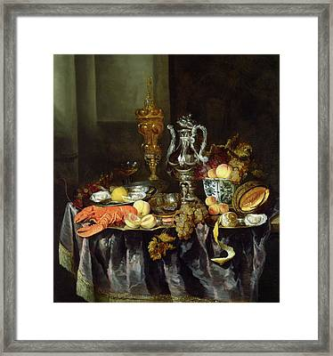 Still Life With Fruit And Shellfish Oil On Canvas Framed Print