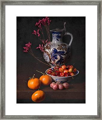 Still Life With Cherries-oranges And Blue Tankard  Framed Print
