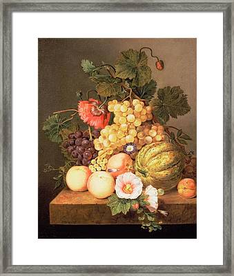 Still Life With Fruit Framed Print by Johannes Cornelis Bruyn