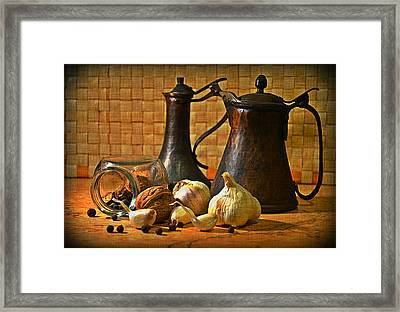 Still Life With Garlic Framed Print
