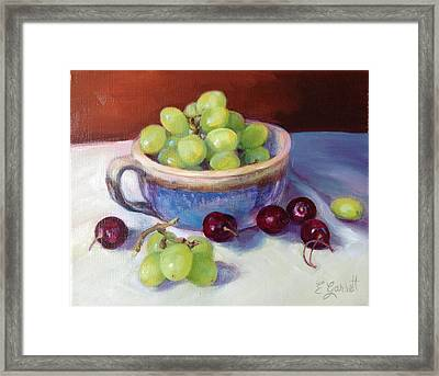 Still Life With Grapes And Cherries Framed Print