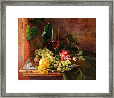 Still Life With Grapes And Grapevine Framed Print