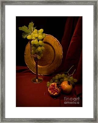 Still Life With Grapes And Pomegranate Framed Print by Jaroslaw Blaminsky