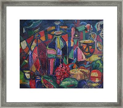 Still Life With Grapes Framed Print by Avonelle Kelsey