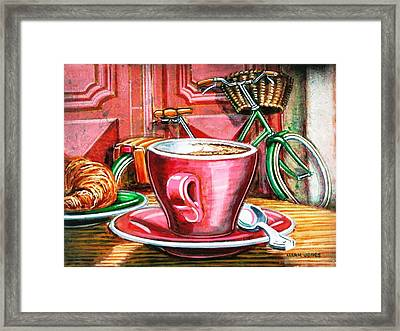 Framed Print featuring the painting Still Life With Green Dutch Bike by Mark Howard Jones