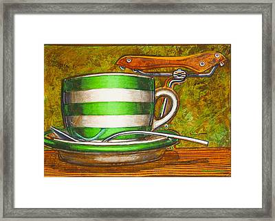 Still Life With Green Stripes And Saddle  Framed Print