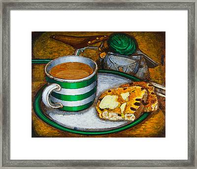 Still Life With Green Touring Bike Framed Print
