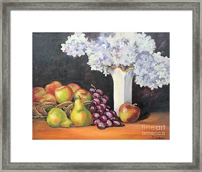 Still Life With Hydrangea Framed Print by Marge Casey
