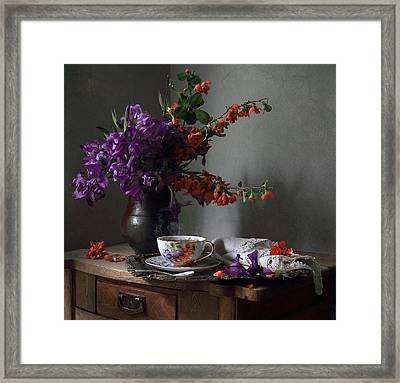 Still Life With Irises Flowers And A Twig Of Blooming Japan Quince Tree Framed Print by Helen Tatulyan
