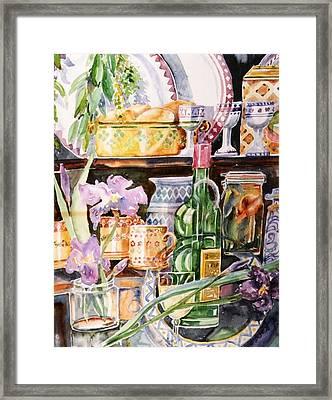 Still Life With Irises Framed Print by Trudi Doyle