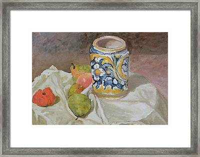 Still Life With Italian Earthenware Jar Framed Print by Paul Cezanne