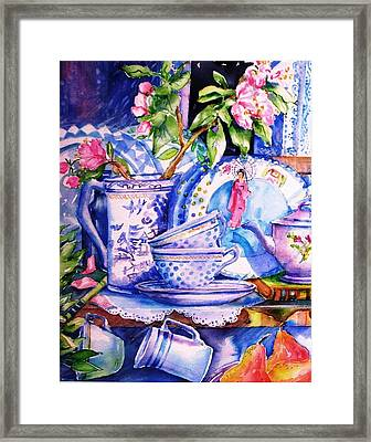 Still Life With  Japanese Plate And Apple Blossom  Framed Print by Trudi Doyle