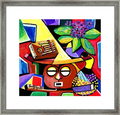 Still Life With Kalimba And African Violets Framed Print by Everett Spruill
