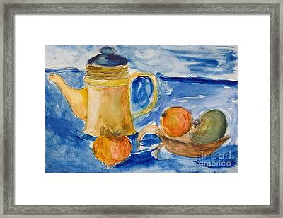 Still Life With Kettle And Apples Aquarelle Framed Print by Kiril Stanchev