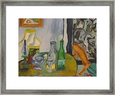 Still Life  With Lamps Framed Print