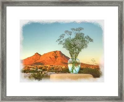 Still Life With Landscape Framed Print by Rick Lloyd