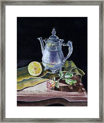 Still Life With Lemon And Rose Framed Print by Irina Sztukowski