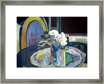 Still Life With Lemon And Two White Roses Framed Print by Therese AbouNader