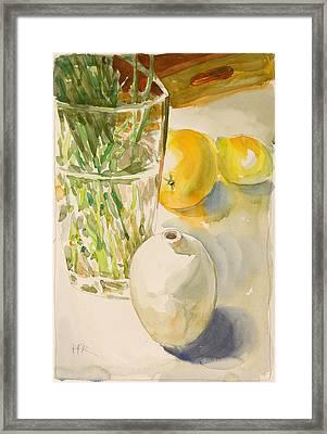 Still Life With Lemon And Vase Framed Print by Pablo Rivera