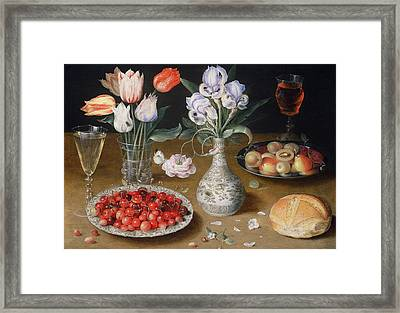 Still Life With Lilies, Roses, Tulips, Cherries And Wild Strawberries Framed Print