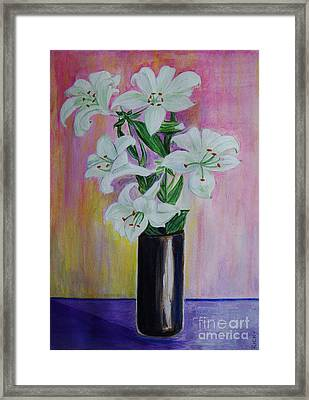 Lilies - Painting Framed Print by Veronica Rickard