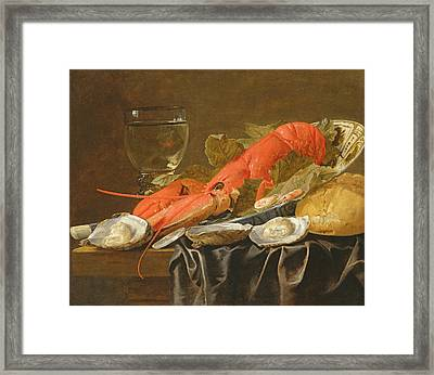 Still Life With Lobster, Shrimp, Roemer, Oysters And Bread Oil On Copper Framed Print by Christiaan Luykx or Luycks