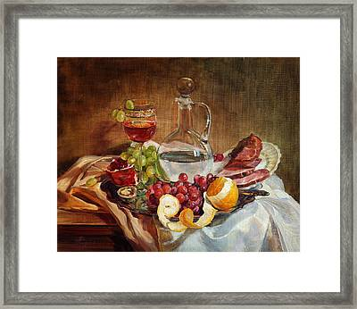 Still Life With Meat And Wine Framed Print