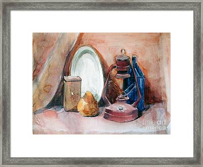 Still Life With Miners Lamp Framed Print